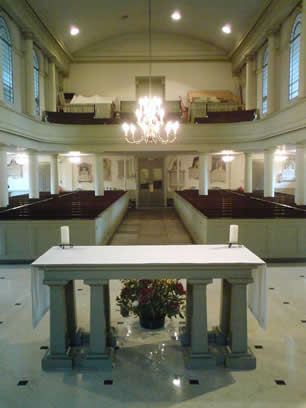 Looking west across altar