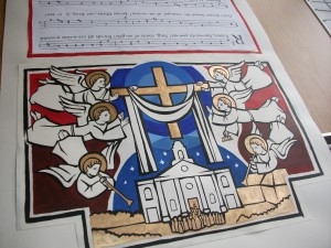 "Angels playing musical instruments surround St John's Wood Church, in an image from an ""Exsultet"" scroll created by former curate Fr Owen Dobson"