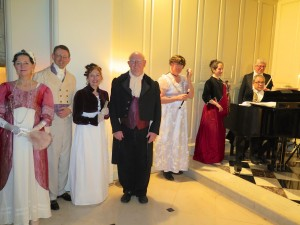 Some of the guests and entertainers at the Gala Dinner, dressed in regency costume