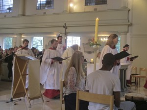 The liturgical procession reaches the sanctuary during our Bicentenary service