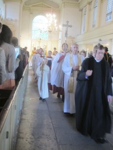 The procession leaving our Bicentenary service