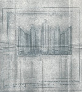 A monochrome sketch of the organ frontage from 1955.