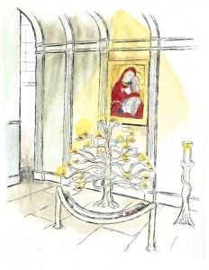 An artist's impression of the Tree of Life in front of our icon of the Virgin and Child