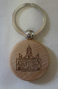 Bicentenary keyring; a small wooden disk bearing the Bicentenary logo