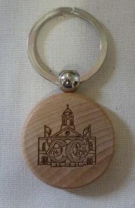 Bicentenary keyring; a small wooden disk bearing the Bicentenary logo