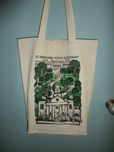 Tote bag, with an illustration of the church in its original grounds