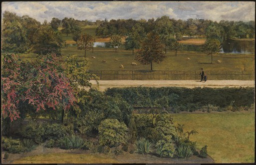 """A painting of 1851, """"May in the Regent's Park"""" by C A Collins, showing a couple walking through parkland on which sheep are grazing"""