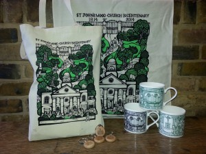 Our Bicentenary merchandise; a teatowel and tote bag with matching design, mugs in a range of colours, and keyrings with the Bicentenary logo on them