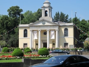 The neo-classical facade of St John's Wood Church on a sunny day