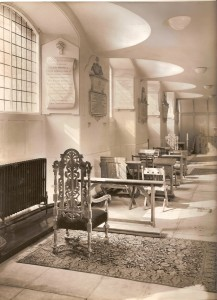 One of St John's Wood Church's side aisles, with sections of carpet and chairs