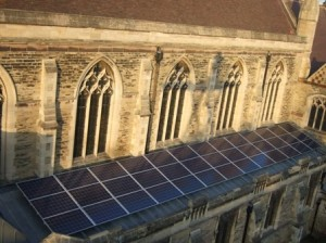 The roof of St Mark's church in Harrogate, with its newly-installed solar panels